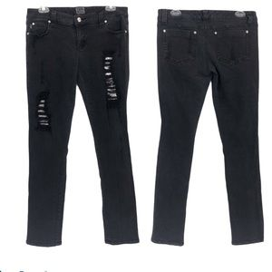 Tripp NYC Distressed Jeans with shiny mesh details